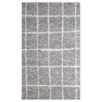 Gridwork 2-Foot x 3-Foot Accent Rug in Grey/White