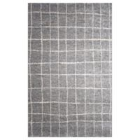 Gridwork 5-Foot 2-Inch x 7-Foot 2-Inch Area Rug in Grey/White