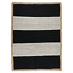 Park B. Smith Jute Border 2-Foot 6-Inch x 3-Foot 6-Inch Accent Rug in Black & Ivory Stripe