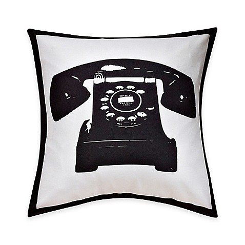 Black Throw Pillow For Bed : Telephone Print Throw Pillow in Black/White - Bed Bath & Beyond