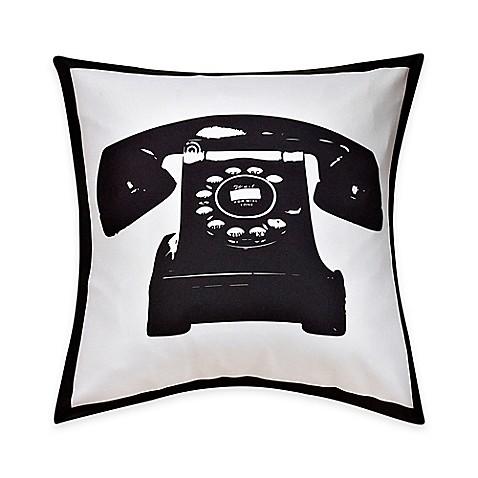 Telephone Print Throw Pillow in Black/White - Bed Bath & Beyond