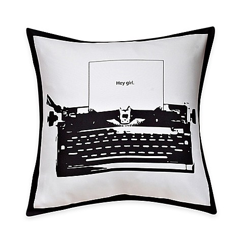 Black Throw Pillows Bed Bath And Beyond : Typewriter Print Throw Pillow in Black/White - Bed Bath & Beyond