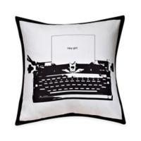 Typewriter Print Throw Pillow in Black/White