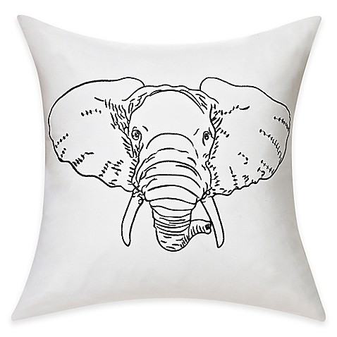 Elephant Throw Pillow Bed Bath And Beyond : Buy Embroidered Elephant Cotton Throw Pillow in Black/White from Bed Bath & Beyond