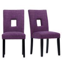 Verona Home Hayden Keyhole Side Chairs in Purple (Set of 2)