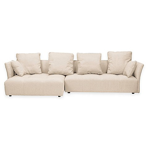 Baxton studio abbott upholstered sectional sofa with left for Beige sectional with chaise