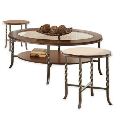 Vance 3 Piece Table Set In Brown Cherry