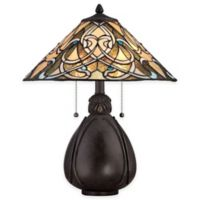 Quoizel India 2-Light Table Lamp in Imperial Bronze with Tiffany Glass Shade