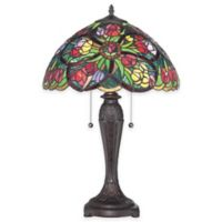 Quoizel Lucia 2-Light Table Lamp with Tiffany Glass Shade