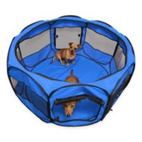 OxGord® 45-Inch Portable Octagon Fabric Pet Play Pen with Mesh Windows in Blue