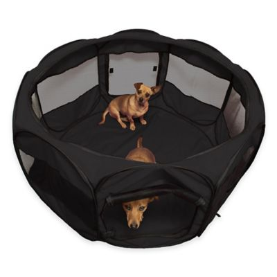 OxGord® 45 Inch Portable Octagon Fabric Pet Play Pen With Mesh Windows In  Black