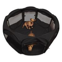 OxGord® 45-Inch Portable Octagon Fabric Pet Play Pen with Mesh Windows in Black
