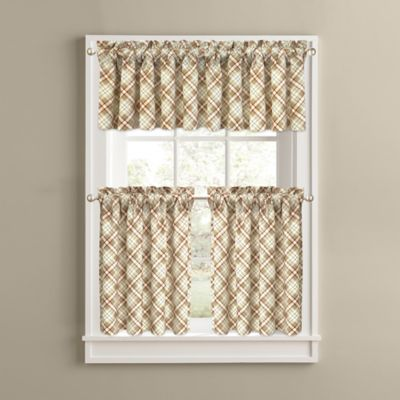 Woodland Plaid 24 Inch Kitchen Window Curtain Tiers