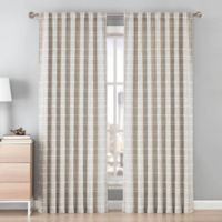 Be Artistic Ellis Grid 108-Inch Rod Pocket/Back Tab Window Curtain Panel in Tan