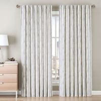 Be Artistic Ellis Painted Stripe 84-Inch Rod Pocket/Back Tab Window Curtain Panel in Grey