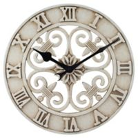 14-Inch Cast Iron Indoor/Outdoor Round Wall Clock in Antique White