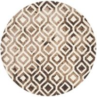 Safavieh Dip Dye Mod Diamond 7-Foot Round Area Rug in Ivory/Chocolate
