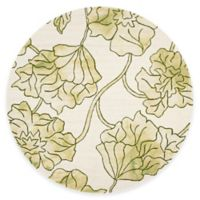 Safavieh Dip Dye Floral 7-Foot Round Area Rug in Ivory/Green