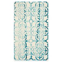 Safavieh Dip Dye Clover 3-Foot x 5-Foot Area Rug in Ivory/Turquoise