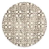 Safavieh Dip Dye Clover 7-Foot Round Area Rug in Ivory/Brown