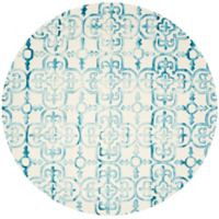 Safavieh Dip Dye Clover 7-Foot Round Area Rug in Ivory/Turquoise