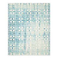 Safavieh Dip Dye Clover 9-Foot x 12-Foot Area Rug in Ivory/Turquoise