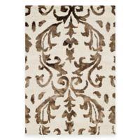 Safavieh Dip Dye Damask Stripe 2-Foot x 3-Foot Accent Rug in Ivory/Chocolate