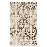 Safavieh Dip Dye Damask Stripe 3-Foot x 5-Foot Area Rug in Ivory/Chocolate