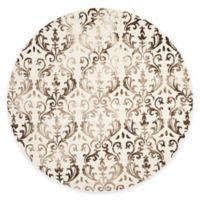 Safavieh Dip Dye Damask Stripe 7-Foot Round Area Rug in Ivory/Chocolate