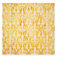 Safavieh Dip Dye Damask Stripe 7-Foot Square Area Rug in Ivory/Gold