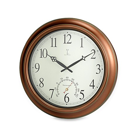 Indoor outdoor 18quot copper wall clock bed bath beyond for Outdoor wall clocks sale