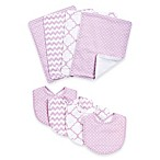 Trend Lab® 8-Piece Orchid Bloom Bib and Burp Cloth Set