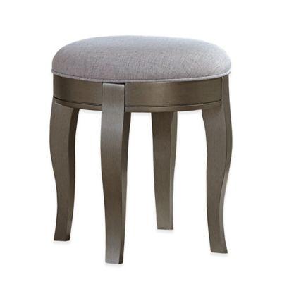 kensington vanity stool in antique silverbrown