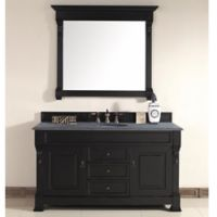James Martin Furniture Brookfield Single Vanity with Black Rustic Stone Top in Antique Black