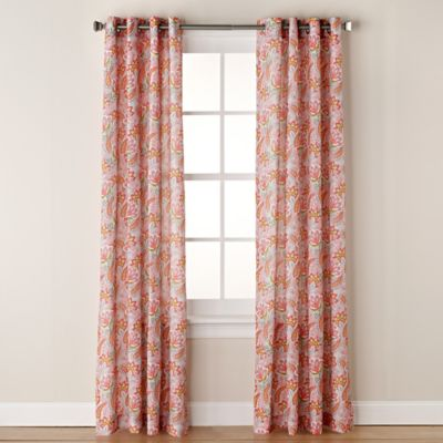 chloe print 84inch grommet window curtain panel in coral