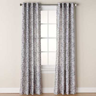 Chloe Print 95 Inch Grommet Window Curtain Panel In Grey