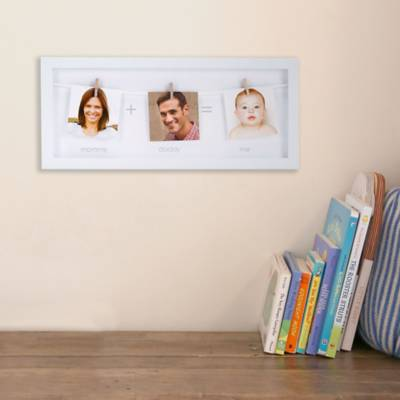 Pearhead® 3-Photo Clothespin Family Picture Frame in White - Bed ...