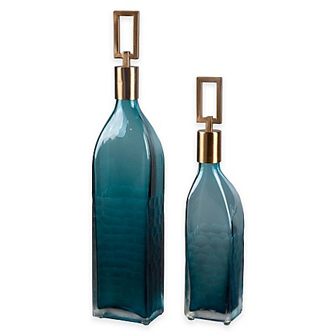 image of Uttermost Annabella Glass Bottles in Teal (Set of 2)