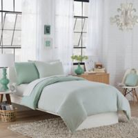 Regan Reversible Twin Duvet Cover Set in Aqua