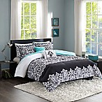 Intelligent Design Leona 5-Piece Full/Queen Comforter Set in Black/Aqua