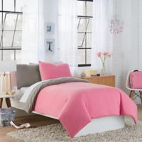 Crew Reversible Full/Queen Duvet Cover Set in Fuchsia