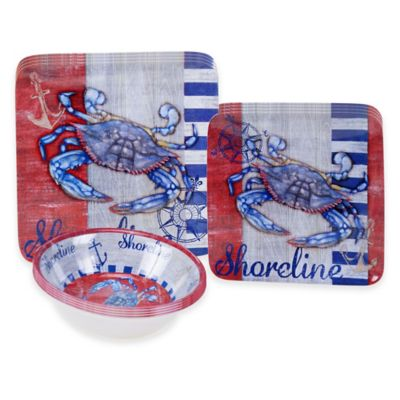 Certified International Maritime Crab 12-Piece Dinnerware Set  sc 1 st  Bed Bath u0026 Beyond & Buy Blue Square Dinnerware Sets from Bed Bath u0026 Beyond