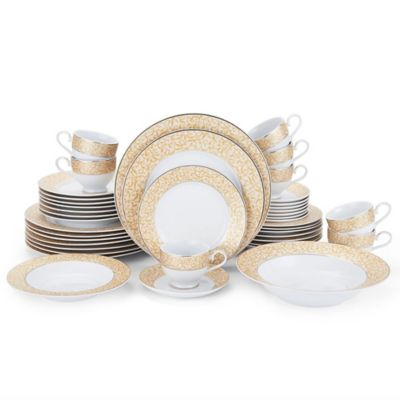 Mikasa® Parchment Gold 42-Piece Dinnerware Set  sc 1 st  Bed Bath u0026 Beyond & Buy Gold White Dinnerware Sets from Bed Bath u0026 Beyond