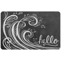 The Softer Side by Weather Guard™ 18-Inch x 27-Inch Wave Hello Kitchen Mat in Black/White