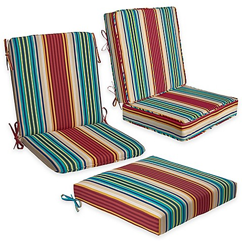 Outdoor seat cushion collection in modern stripe bed for Bed bath beyond gel seat cushion