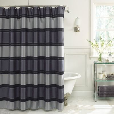 Charming Jardin Stripe 72 Inch X 84 Inch Fabric Shower Curtain In Navy