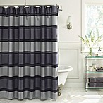 Jardin Stripe 72-Inch x 96-Inch Fabric Shower Curtain in Navy