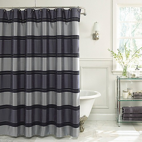 Jardin Stripe Fabric Shower Curtain In Navy Bed Bath