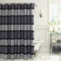 Jardin Stripe 72-Inch x 84-Inch Fabric Shower Curtain in Navy