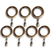 Corinthian Vintage Wood Clip Rings in Burnished Oak (Set of 7)